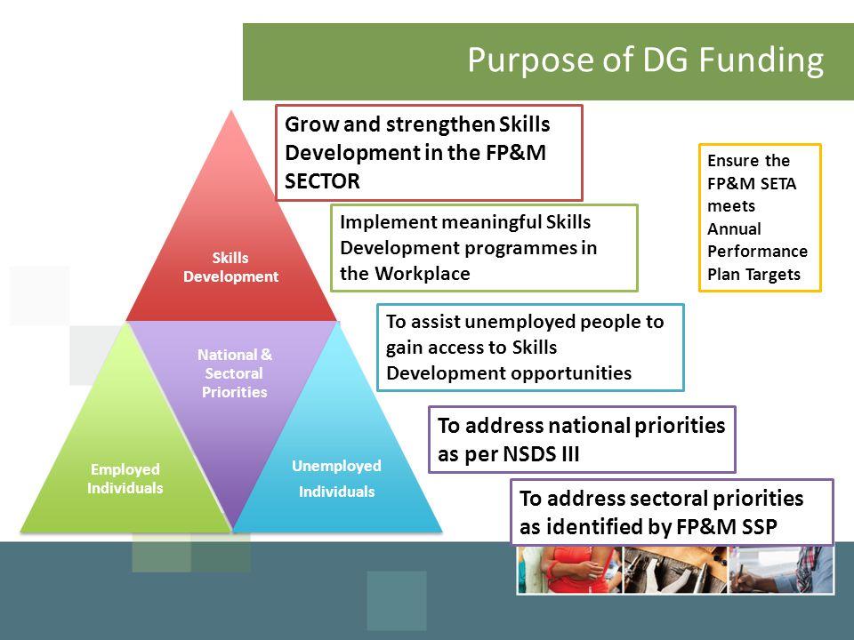 Purpose of DG Funding Skills Development Employed Individuals National & Sectoral Priorities Unemployed Individuals Grow and strengthen Skills Develop