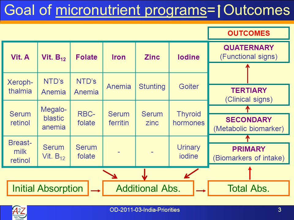 OD-2011-03-India-Priorities3 TERTIARY (Clinical signs) SECONDARY (Metabolic biomarker) PRIMARY (Biomarkers of intake) QUATERNARY (Functional signs) Total Abs.Initial AbsorptionAdditional Abs.