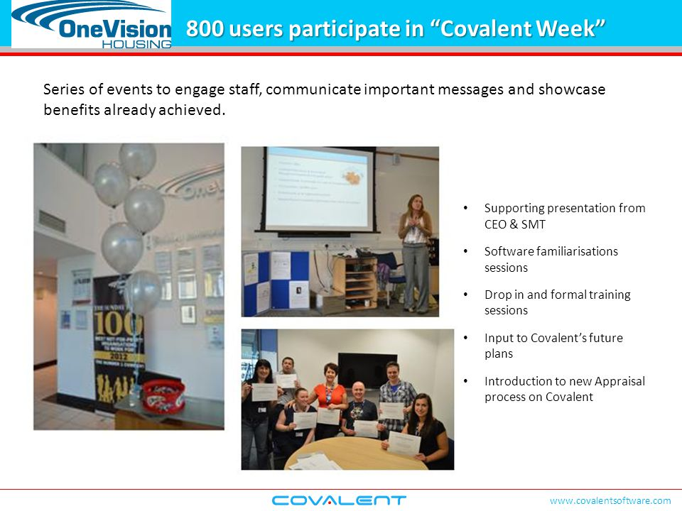 """www.covalentsoftware.com 800 users participate in """"Covalent Week"""" Series of events to engage staff, communicate important messages and showcase benefi"""