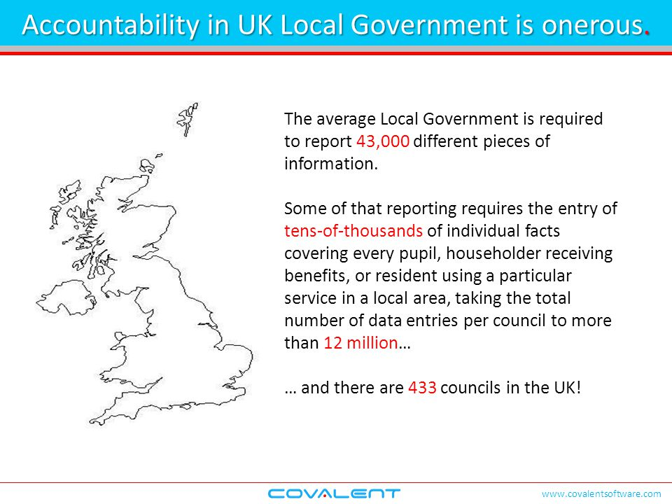 www.covalentsoftware.com The average Local Government is required to report 43,000 different pieces of information. Some of that reporting requires th