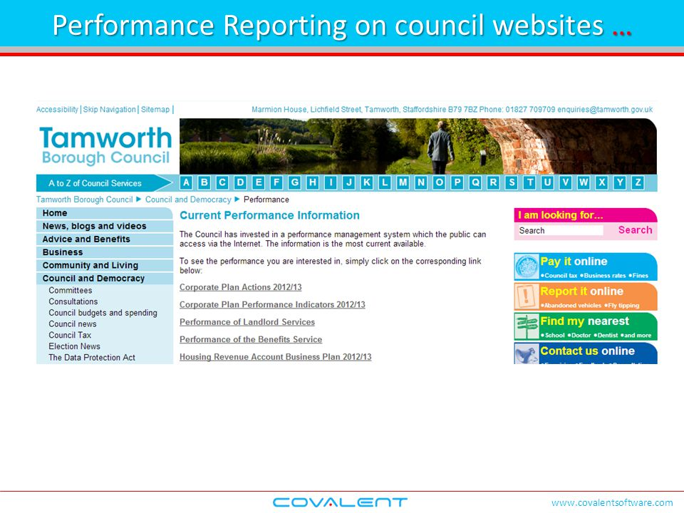 www.covalentsoftware.com Performance Reporting on council websites …