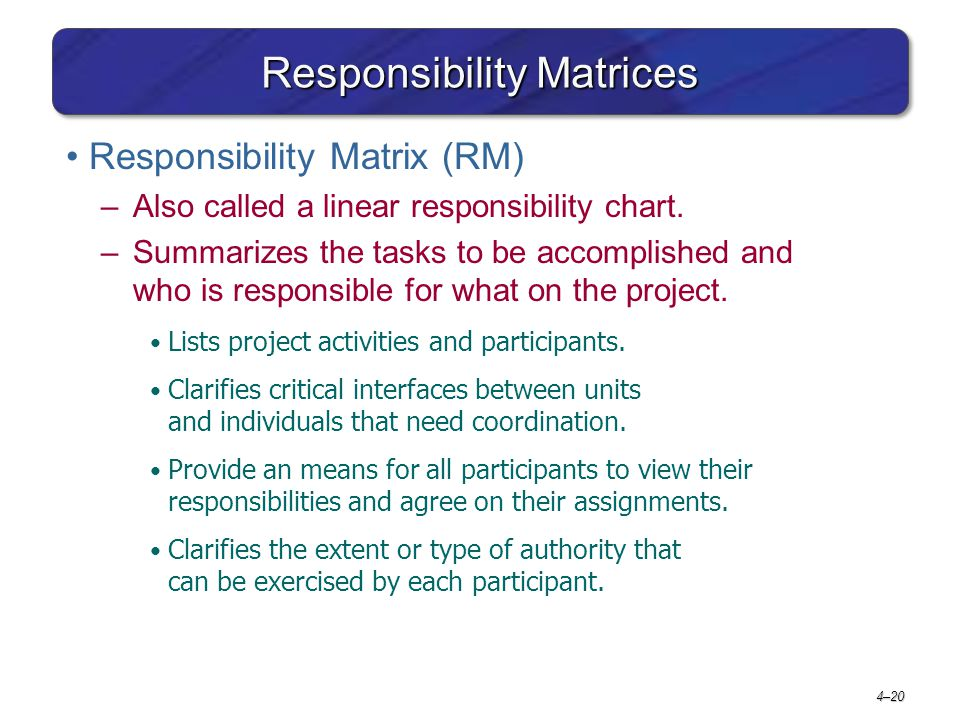 4–20 Responsibility Matrices Responsibility Matrix (RM) –Also called a linear responsibility chart. –Summarizes the tasks to be accomplished and who i