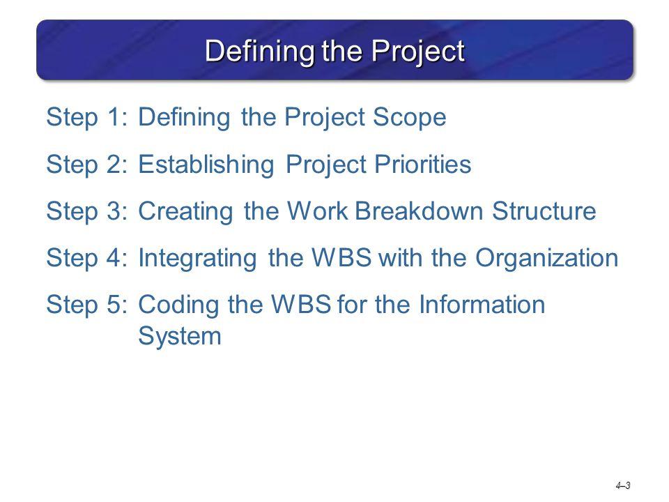 4–34–3 Defining the Project Step 1:Defining the Project Scope Step 2:Establishing Project Priorities Step 3:Creating the Work Breakdown Structure Step