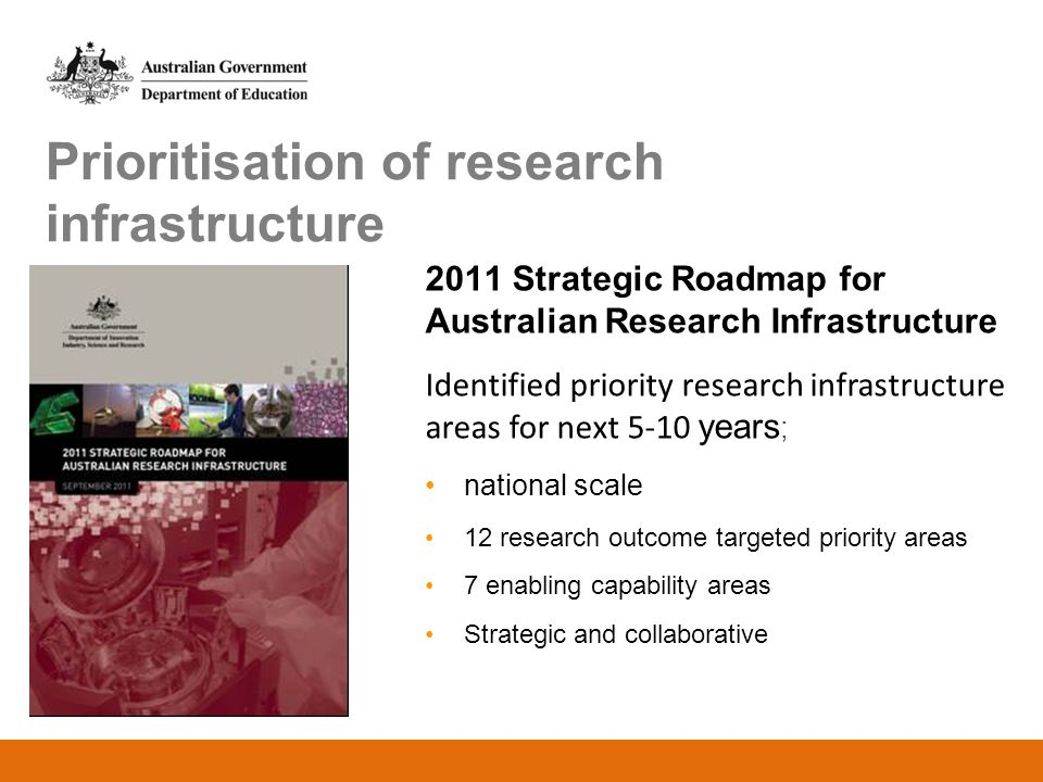 Prioritisation of research infrastructure 2011 Strategic Roadmap for Australian Research Infrastructure Identified priority research infrastructure ar