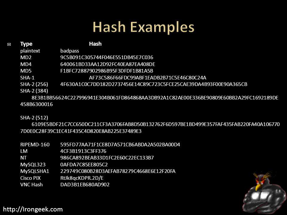 http://Irongeek.com  TypeHash plaintextbadpass MD29C5B091C305744F046E551DB45E7C036 MD4640061BD33AA12D92FC40EA87EA408DE MD5F1BFC72887902986B95F3DFDF1B