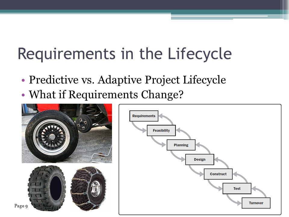 Requirements in the Lifecycle Predictive vs.