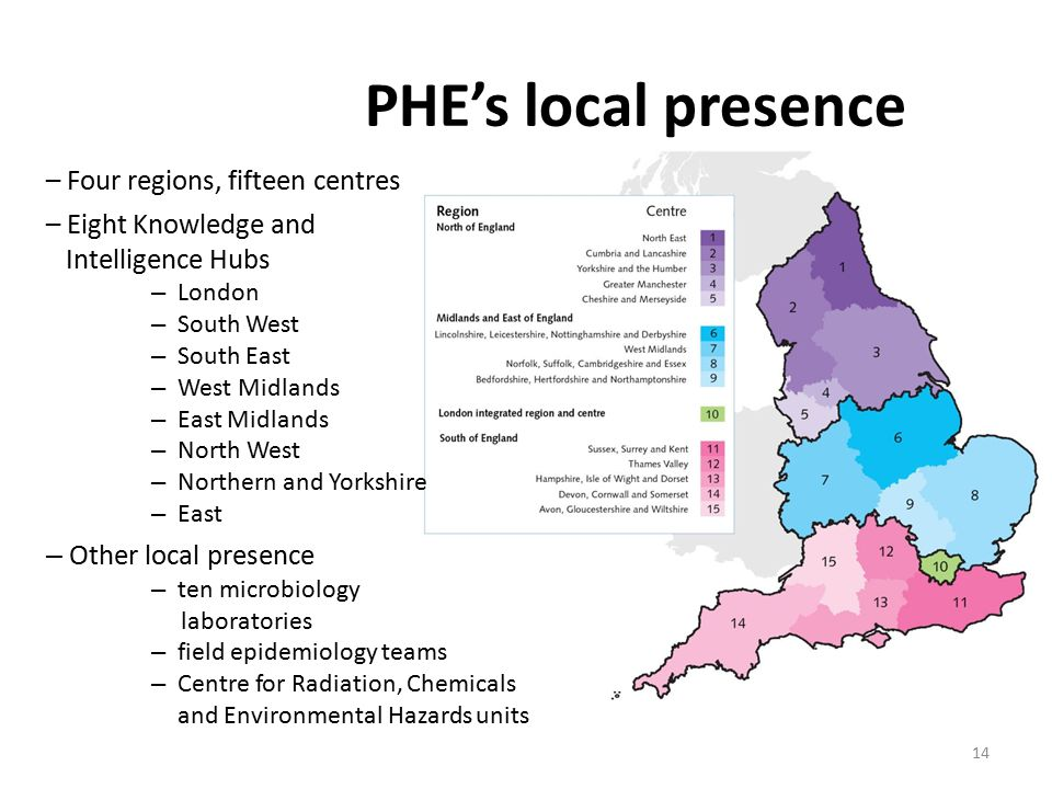 PHE's local presence 14 – Four regions, fifteen centres – Eight Knowledge and Intelligence Hubs – London – South West – South East – West Midlands – East Midlands – North West – Northern and Yorkshire – East – Other local presence – ten microbiology laboratories – field epidemiology teams – Centre for Radiation, Chemicals and Environmental Hazards units