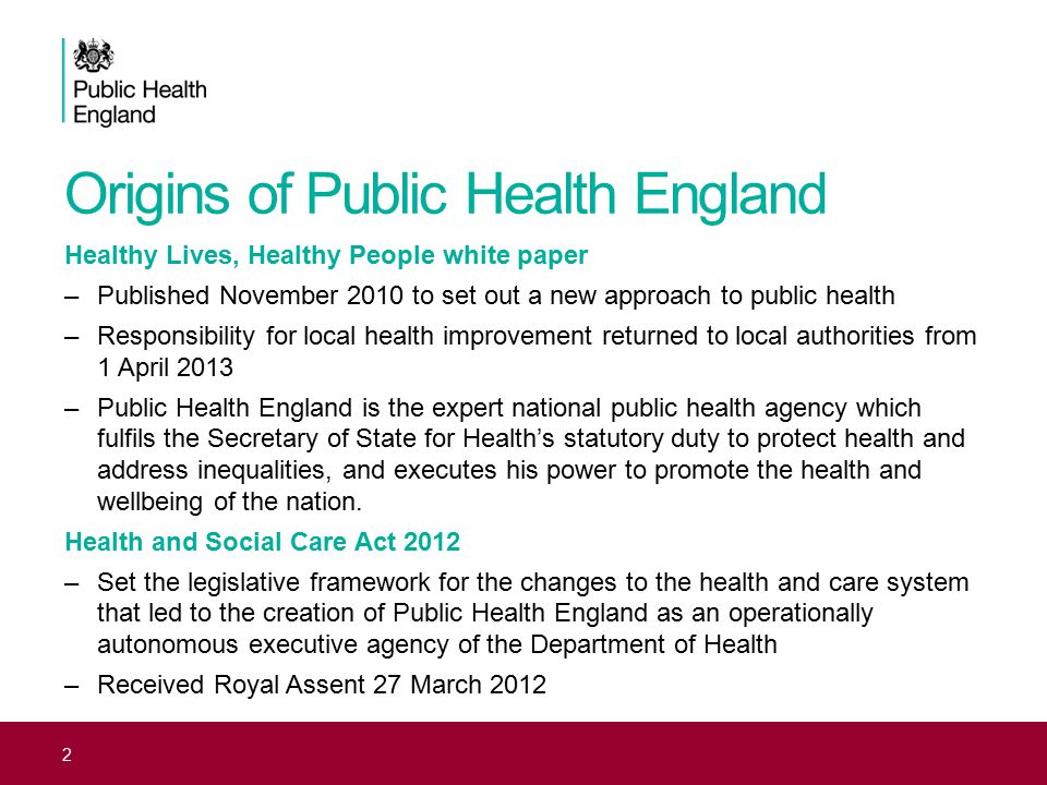Origins of Public Health England Healthy Lives, Healthy People white paper –Published November 2010 to set out a new approach to public health –Respon