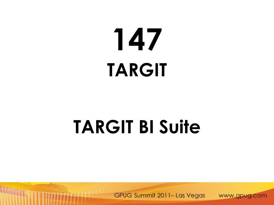 GPUG Summit 2011– Las Vegas www.gpug.com 147 TARGIT TARGIT BI Suite