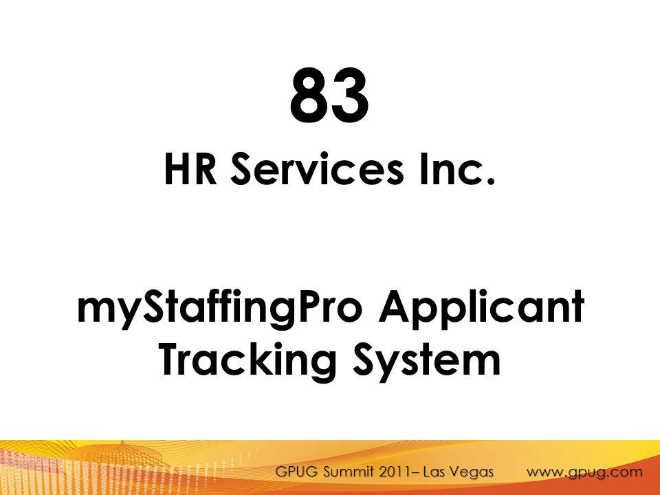 GPUG Summit 2011– Las Vegas www.gpug.com 83 HR Services Inc.