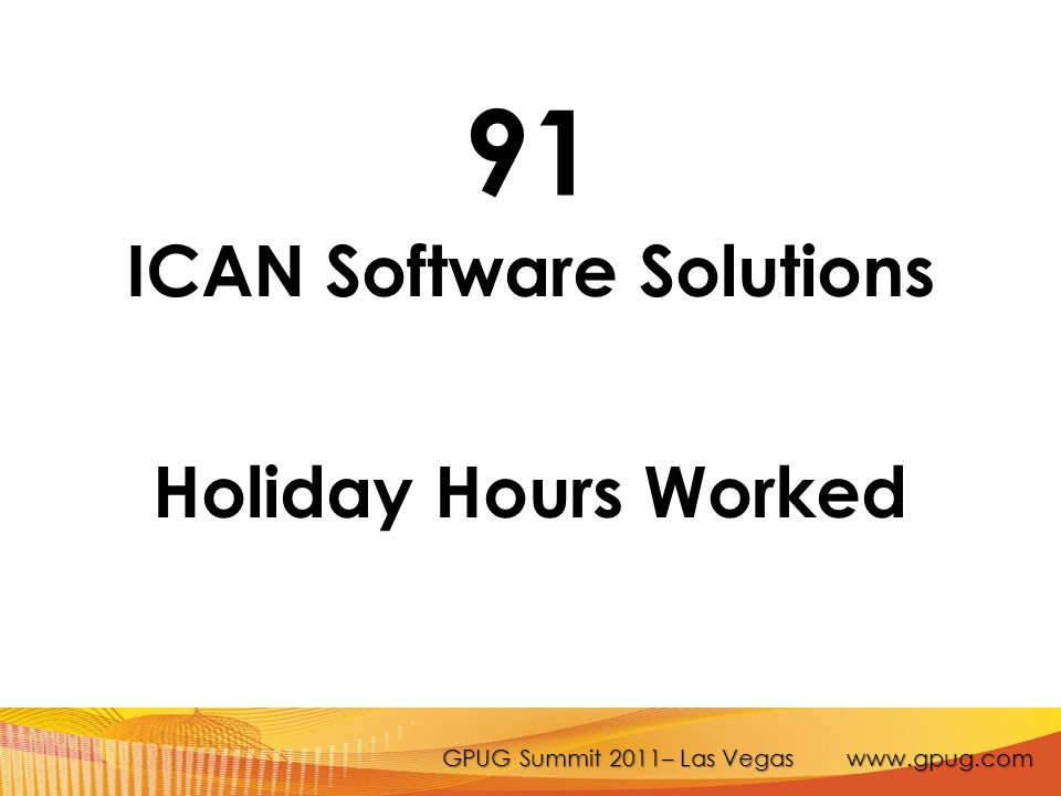 GPUG Summit 2011– Las Vegas www.gpug.com 91 ICAN Software Solutions Holiday Hours Worked