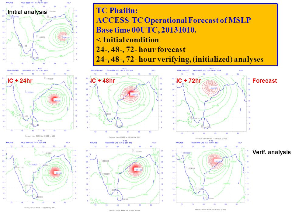 TC Phailin: ACCESS-TC Operational Forecast of MSLP Base time 00UTC, 20131010. < Initial condition 24-, 48-, 72- hour forecast 24-, 48-, 72- hour verif