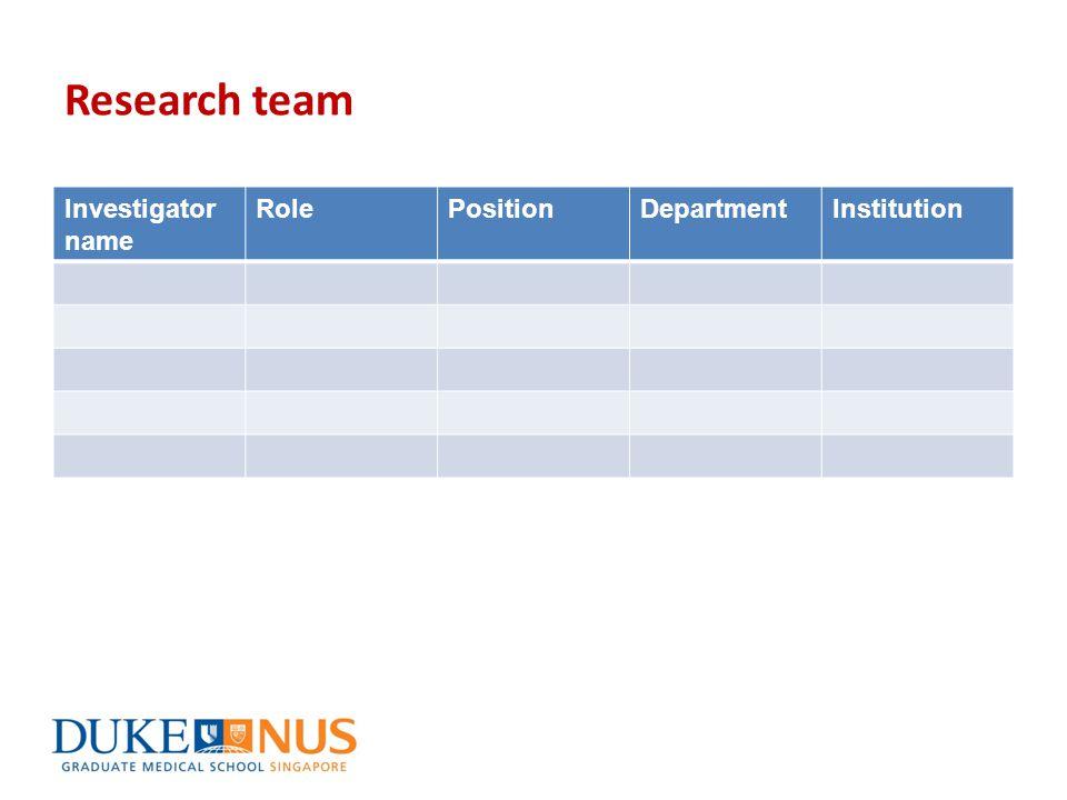 Research team Investigator name RolePositionDepartmentInstitution