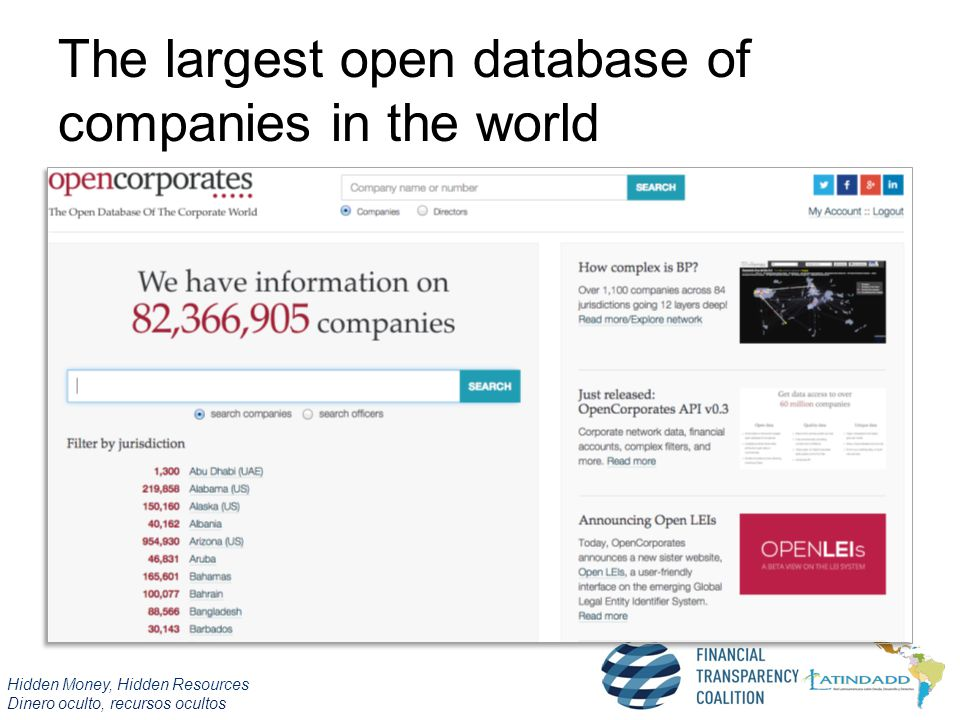 Hidden Money, Hidden Resources Dinero oculto, recursos ocultos The largest open database of companies in the world