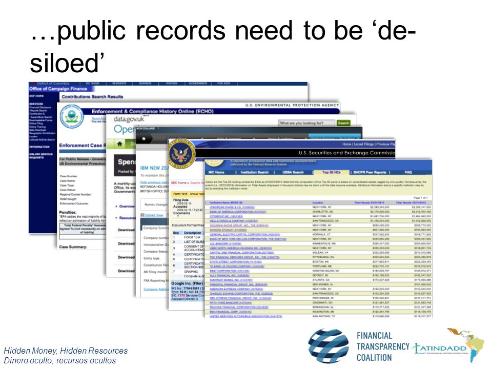 Hidden Money, Hidden Resources Dinero oculto, recursos ocultos …public records need to be 'de- siloed'