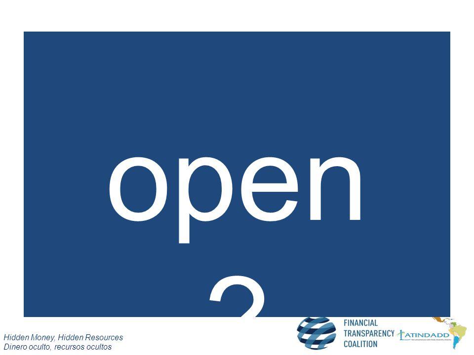 Hidden Money, Hidden Resources Dinero oculto, recursos ocultos open ?