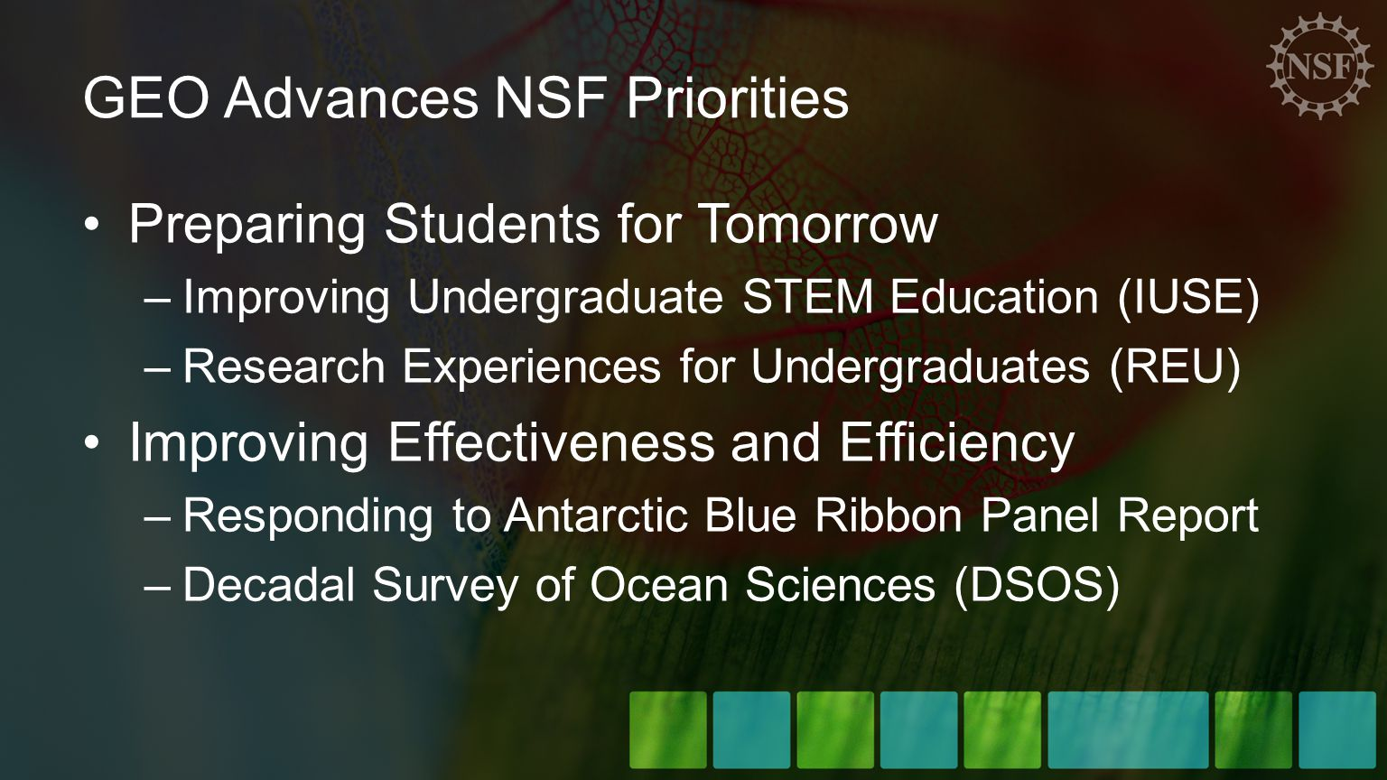 GEO Advances NSF Priorities Preparing Students for Tomorrow –Improving Undergraduate STEM Education (IUSE) –Research Experiences for Undergraduates (REU) Improving Effectiveness and Efficiency –Responding to Antarctic Blue Ribbon Panel Report –Decadal Survey of Ocean Sciences (DSOS)