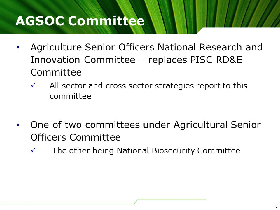 3 Agriculture Senior Officers National Research and Innovation Committee – replaces PISC RD&E Committee All sector and cross sector strategies report to this committee One of two committees under Agricultural Senior Officers Committee The other being National Biosecurity Committee AGSOC Committee