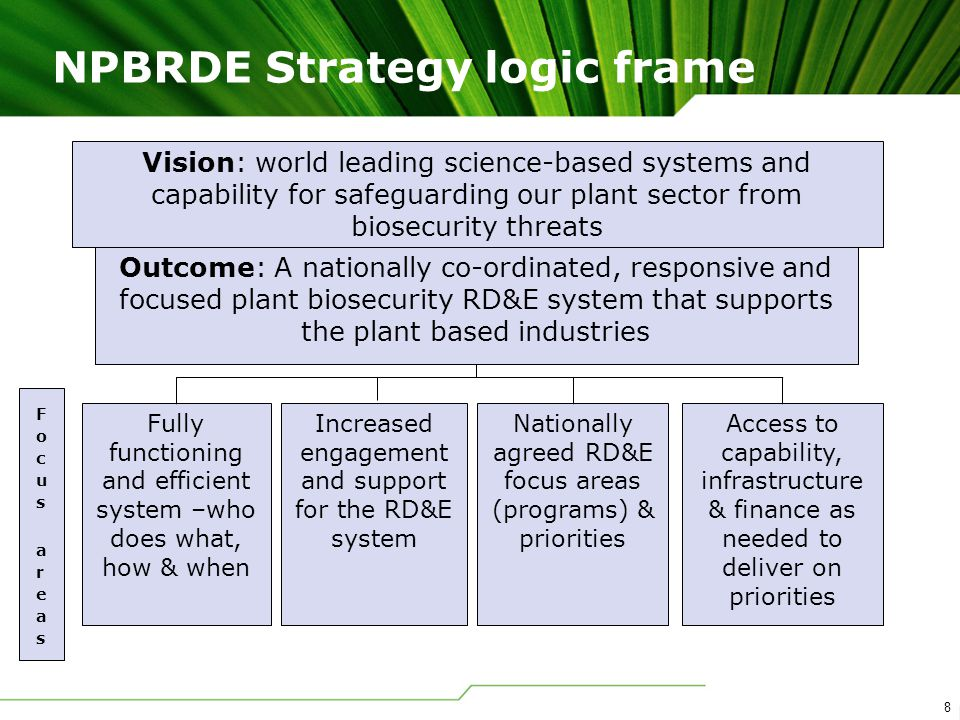 8 NPBRDE Strategy logic frame Vision: world leading science-based systems and capability for safeguarding our plant sector from biosecurity threats Outcome: A nationally co-ordinated, responsive and focused plant biosecurity RD&E system that supports the plant based industries Fully functioning and efficient system –who does what, how & when Increased engagement and support for the RD&E system Nationally agreed RD&E focus areas (programs) & priorities Access to capability, infrastructure & finance as needed to deliver on priorities