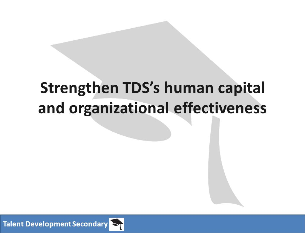 Talent Development Secondary Strengthen TDS's human capital and organizational effectiveness