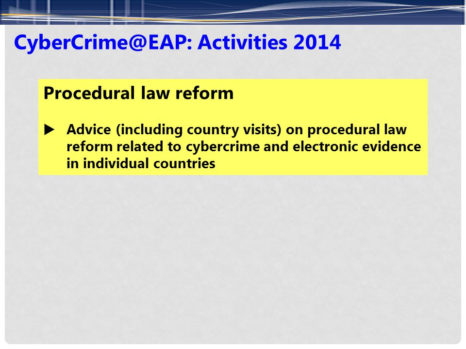 CyberCrime@EAP: Activities 2014 Procedural law reform  Advice (including country visits) on procedural law reform related to cybercrime and electronic evidence in individual countries