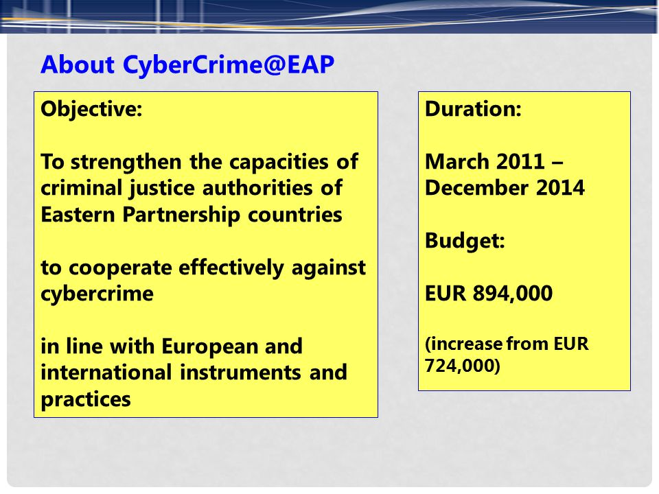 About CyberCrime@EAP Objective: To strengthen the capacities of criminal justice authorities of Eastern Partnership countries to cooperate effectively against cybercrime in line with European and international instruments and practices Duration: March 2011 – December 2014 Budget: EUR 894,000 (increase from EUR 724,000)