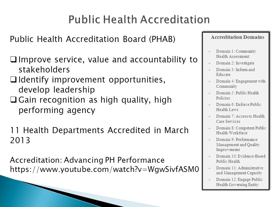  Pre-Application ◦ Online orientation ◦ Submit Statement of Intent  Application ◦ Submit Pre-Requisites: Community Health Assessment, Community Health Improvement Plan, Strategic Plan ◦ Submit form, fee ◦ Attend Training  Document Selection and Submission  Site Visit  Accreditation Decision  Reports  Re-accreditation