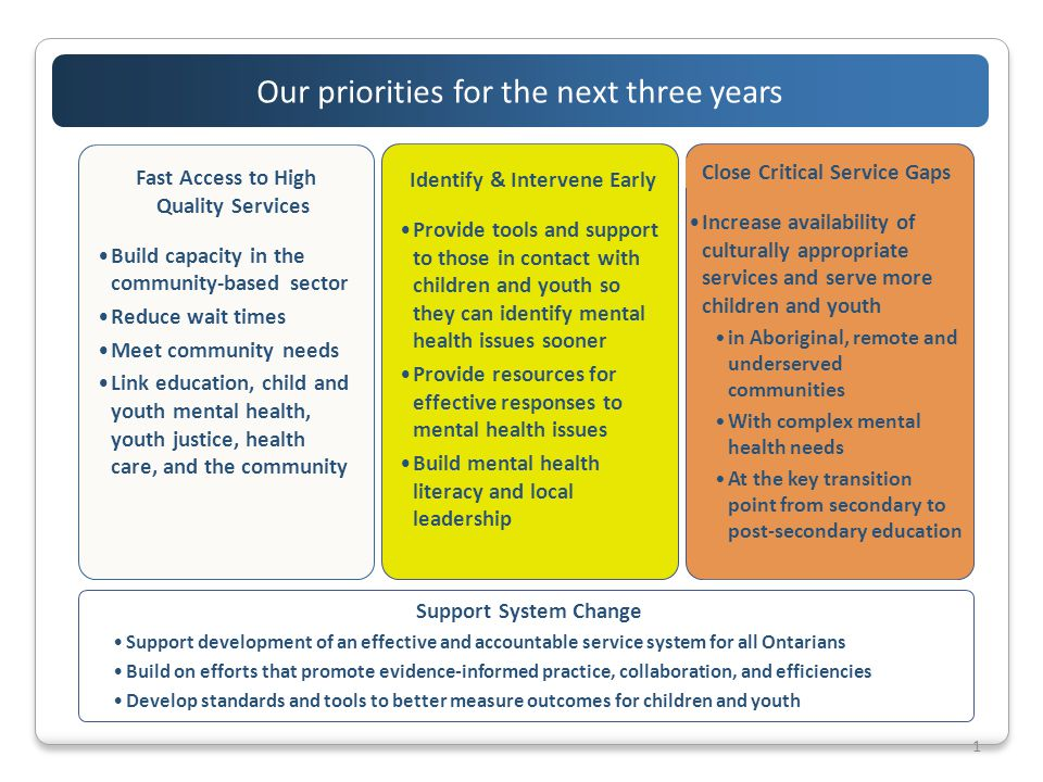 1 Our priorities for the next three years Close Critical Service Gaps Increase availability of culturally appropriate services and serve more children and youth in Aboriginal, remote and underserved communities With complex mental health needs At the key transition point from secondary to post-secondary education Identify & Intervene Early Provide tools and support to those in contact with children and youth so they can identify mental health issues sooner Provide resources for effective responses to mental health issues Build mental health literacy and local leadership Fast Access to High Quality Services Build capacity in the community-based sector Reduce wait times Meet community needs Link education, child and youth mental health, youth justice, health care, and the community Support System Change Support development of an effective and accountable service system for all Ontarians Build on efforts that promote evidence-informed practice, collaboration, and efficiencies Develop standards and tools to better measure outcomes for children and youth