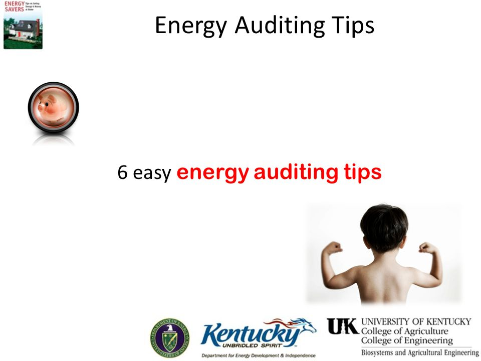 Energy Auditing Tips Check insulation levels in attic, exterior and basement walls, ceilings, floors and crawl spaces