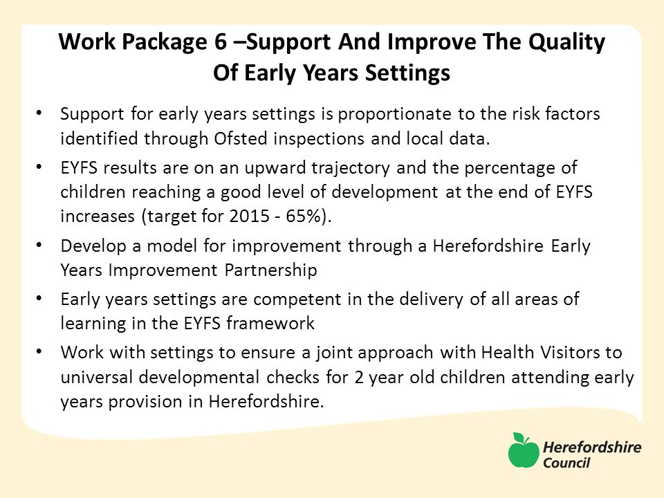 Support for early years settings is proportionate to the risk factors identified through Ofsted inspections and local data.