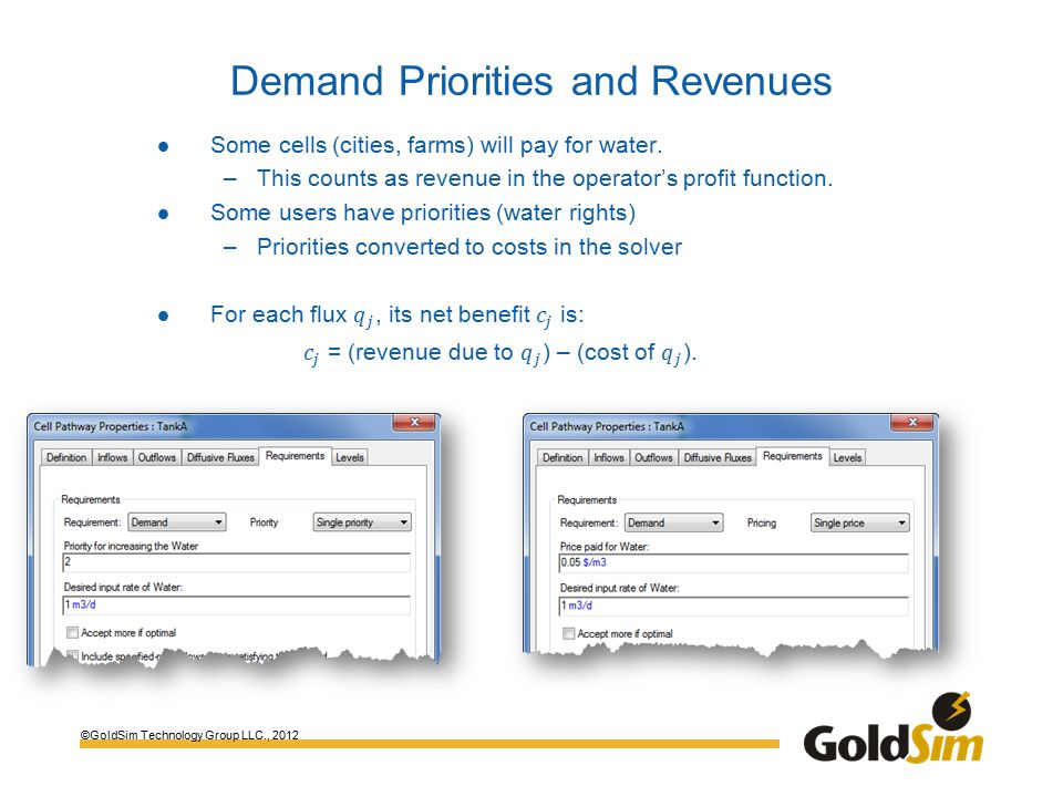 ©GoldSim Technology Group LLC., 2012 Demand Priorities and Revenues