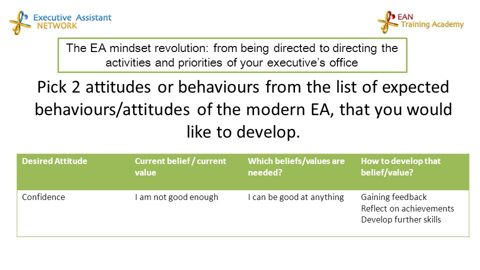 The EA mindset revolution: from being directed to directing the activities and priorities of your executive's office Pick 2 attitudes or behaviours fr