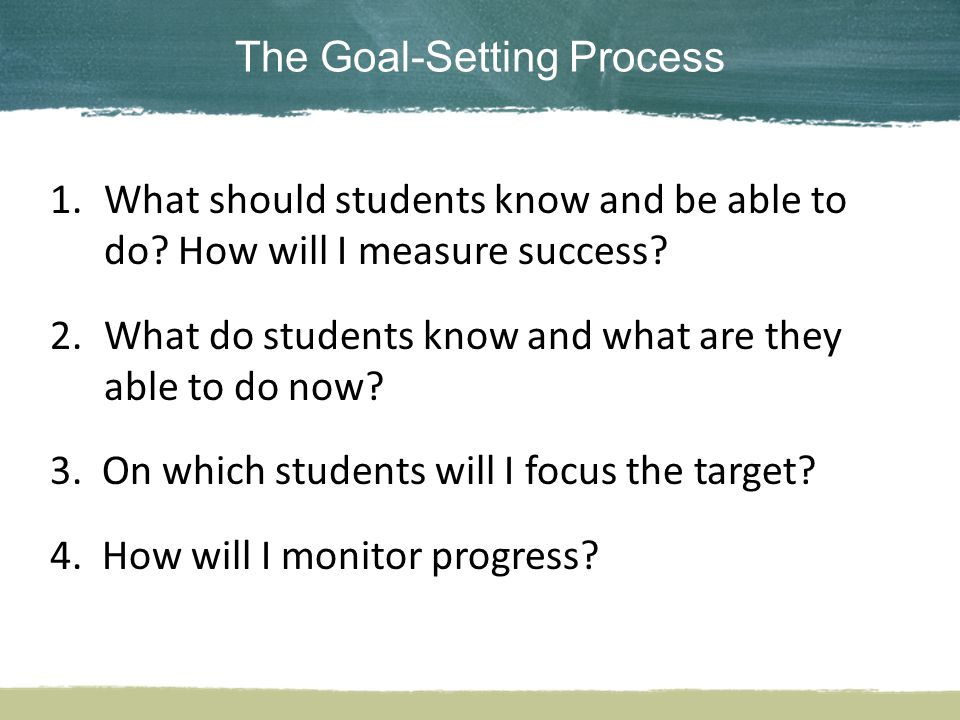 The Goal-Setting Process 1.What should students know and be able to do.