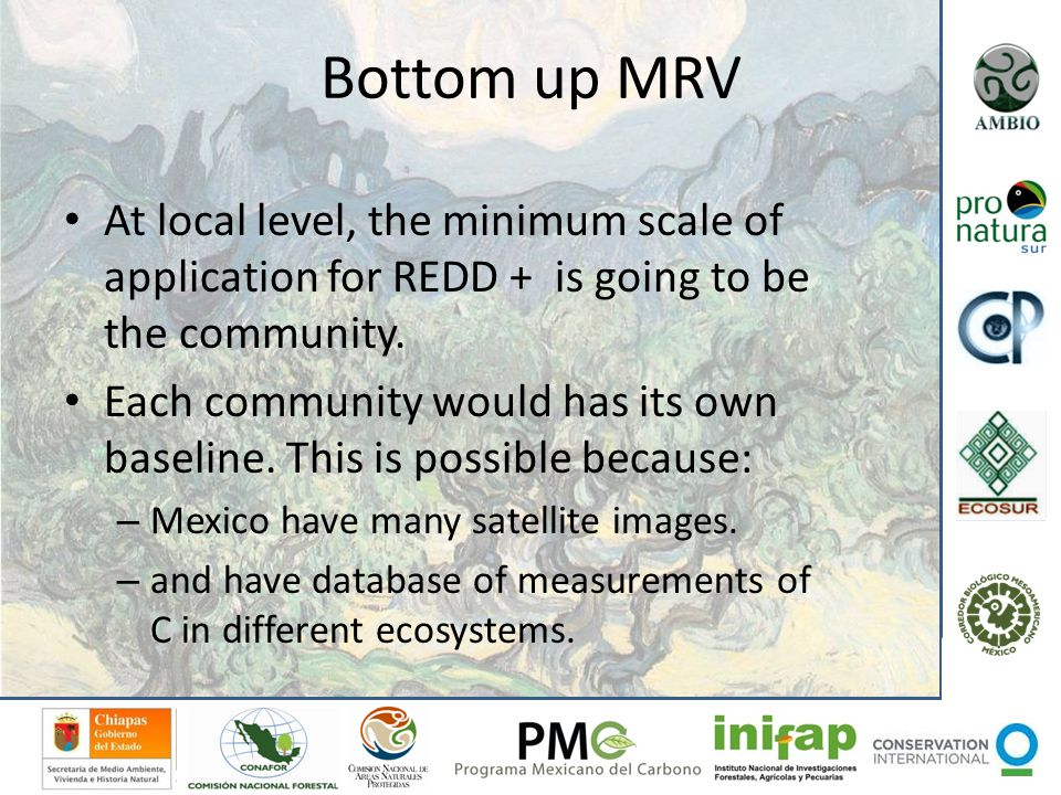 Bottom up MRV At local level, the minimum scale of application for REDD + is going to be the community. Each community would has its own baseline. Thi