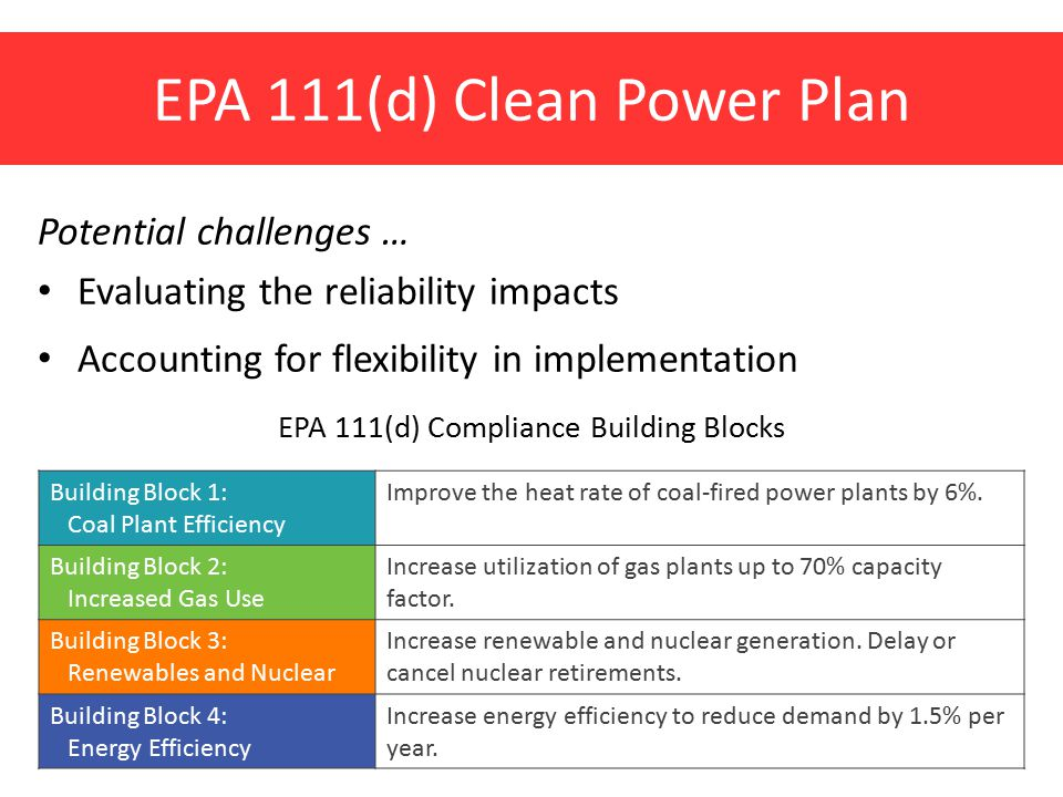 EPA 111(d) Clean Power Plan Potential challenges … Evaluating the reliability impacts Accounting for flexibility in implementation EPA 111(d) Compliance Building Blocks Building Block 1: Coal Plant Efficiency Improve the heat rate of coal-fired power plants by 6%.