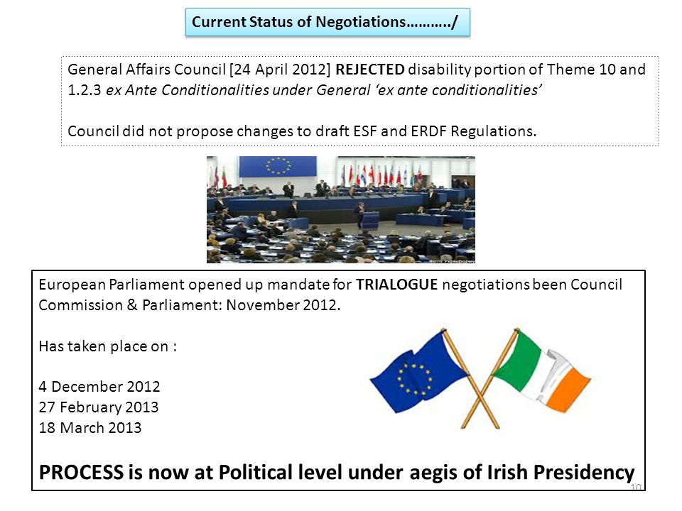 10 Current Status of Negotiations………../ General Affairs Council [24 April 2012] REJECTED disability portion of Theme 10 and 1.2.3 ex Ante Conditionalities under General 'ex ante conditionalities' Council did not propose changes to draft ESF and ERDF Regulations.