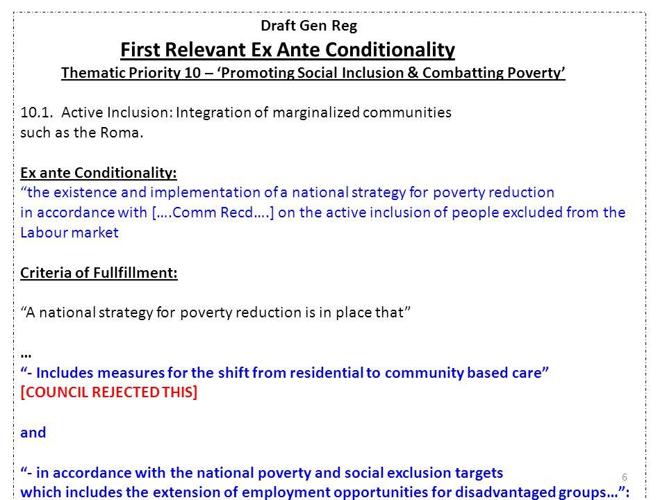 Draft Gen Reg Second Relevant Ex Ante Conditionality General Ex Ante Conditionality – Process Oriented 3.