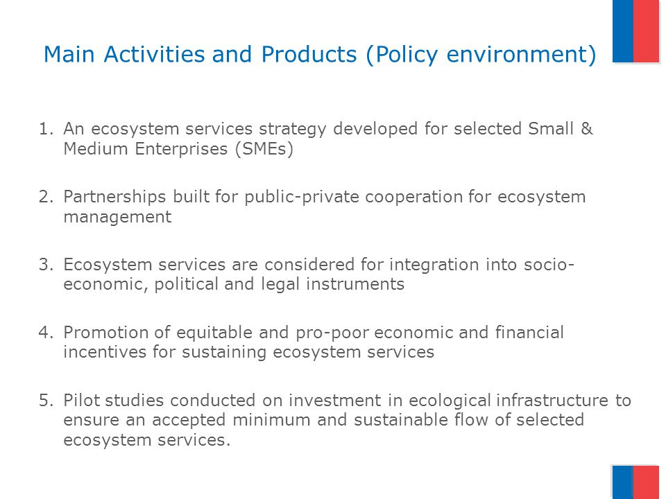Main Activities and Products (Policy environment) 1.An ecosystem services strategy developed for selected Small & Medium Enterprises (SMEs) 2.Partnerships built for public-private cooperation for ecosystem management 3.Ecosystem services are considered for integration into socio- economic, political and legal instruments 4.Promotion of equitable and pro-poor economic and financial incentives for sustaining ecosystem services 5.Pilot studies conducted on investment in ecological infrastructure to ensure an accepted minimum and sustainable flow of selected ecosystem services.