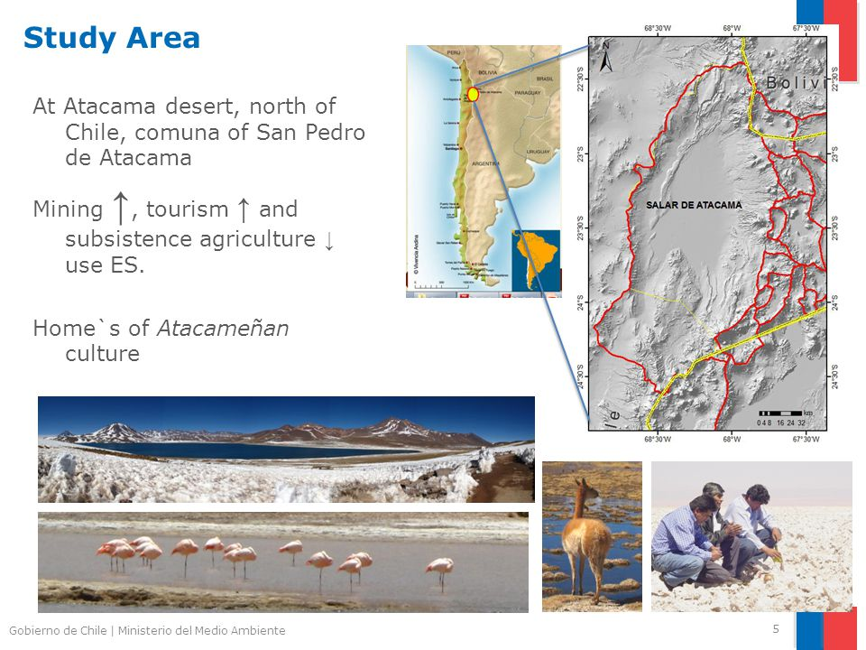 Gobierno de Chile | Ministerio del Medio Ambiente Study Area At Atacama desert, north of Chile, comuna of San Pedro de Atacama Mining ↑, tourism ↑ and subsistence agriculture ↓ use ES.