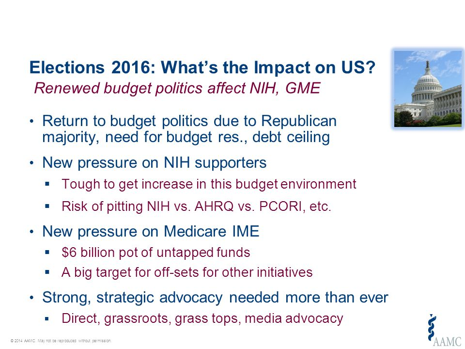 © 2014 AAMC. May not be reproduced without permission. Elections 2016: What's the Impact on US? Return to budget politics due to Republican majority,
