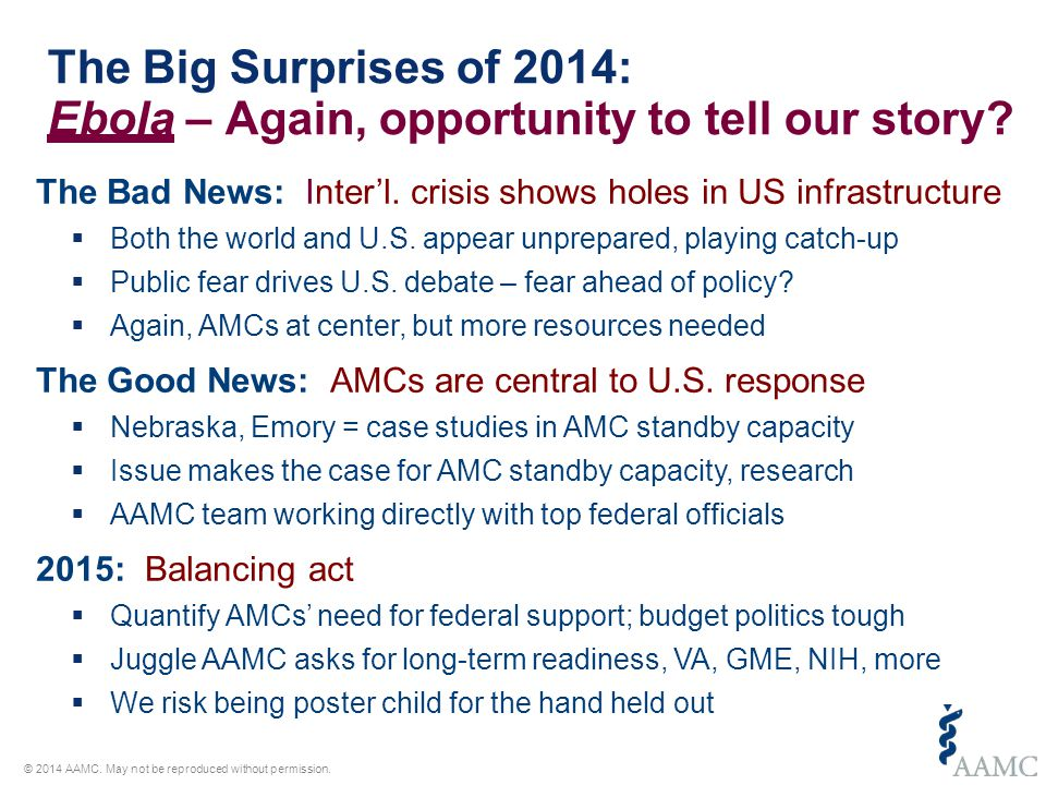 The Big Surprises in 2015: Who knows.– We don't know what we don't know © 2014 AAMC.