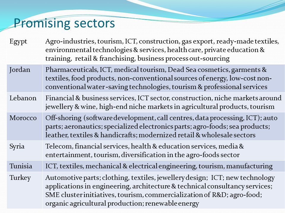 Promising sectors EgyptAgro-industries, tourism, ICT, construction, gas export, ready-made textiles, environmental technologies & services, health care, private education & training, retail & franchising, business process out-sourcing JordanPharmaceuticals, ICT, medical tourism, Dead Sea cosmetics, garments & textiles, food products, non-conventional sources of energy, low-cost non- conventional water -saving technologies, tourism & professional services LebanonFinancial & business services, ICT sector, construction, niche markets around jewellery & wine, high-end niche markets in agricultural products, tourism MoroccoOff-shoring (software development, call centres, data processing, ICT); auto parts; aeronautics; specialized electronics parts; agro-foods; sea products; leather, textiles & handicrafts; modernized retail & wholesale sectors SyriaTelecom, financial services, health & education services, media & entertainment, tourism, diversification in the agro-foods sector TunisiaICT, textiles, mechanical & electrical engineering, tourism, manufacturing TurkeyAutomotive parts; clothing, textiles, jewellery design; ICT; new technology applications in engineering, architecture & technical consultancy services; SME cluster initiatives, tourism, commercialization of R&D; agro-food; organic agricultural production; renewable energy