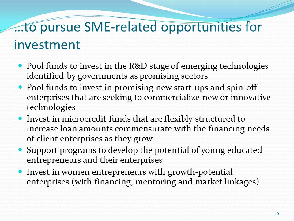 …to pursue SME-related opportunities for investment Pool funds to invest in the R&D stage of emerging technologies identified by governments as promising sectors Pool funds to invest in promising new start-ups and spin-off enterprises that are seeking to commercialize new or innovative technologies Invest in microcredit funds that are flexibly structured to increase loan amounts commensurate with the financing needs of client enterprises as they grow Support programs to develop the potential of young educated entrepreneurs and their enterprises Invest in women entrepreneurs with growth-potential enterprises (with financing, mentoring and market linkages) 16