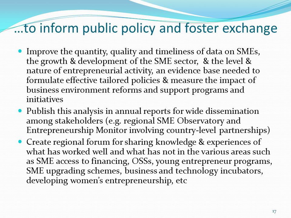 …to inform public policy and foster exchange Improve the quantity, quality and timeliness of data on SMEs, the growth & development of the SME sector, & the level & nature of entrepreneurial activity, an evidence base needed to formulate effective tailored policies & measure the impact of business environment reforms and support programs and initiatives Publish this analysis in annual reports for wide dissemination among stakeholders (e.g.