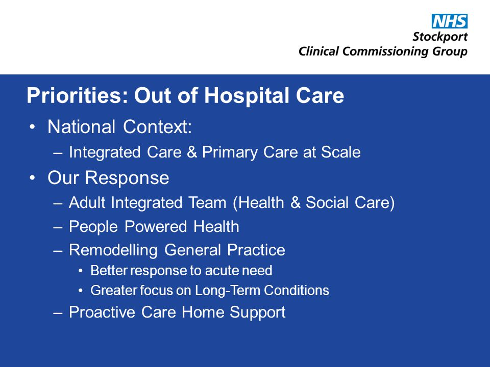 National Context: –Integrated Care & Primary Care at Scale Our Response –Adult Integrated Team (Health & Social Care) –People Powered Health –Remodelling General Practice Better response to acute need Greater focus on Long-Term Conditions –Proactive Care Home Support Priorities: Out of Hospital Care