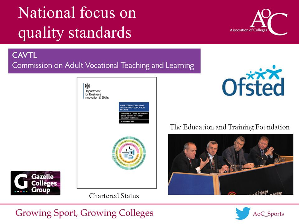 National focus on quality standards The Education and Training Foundation Chartered Status