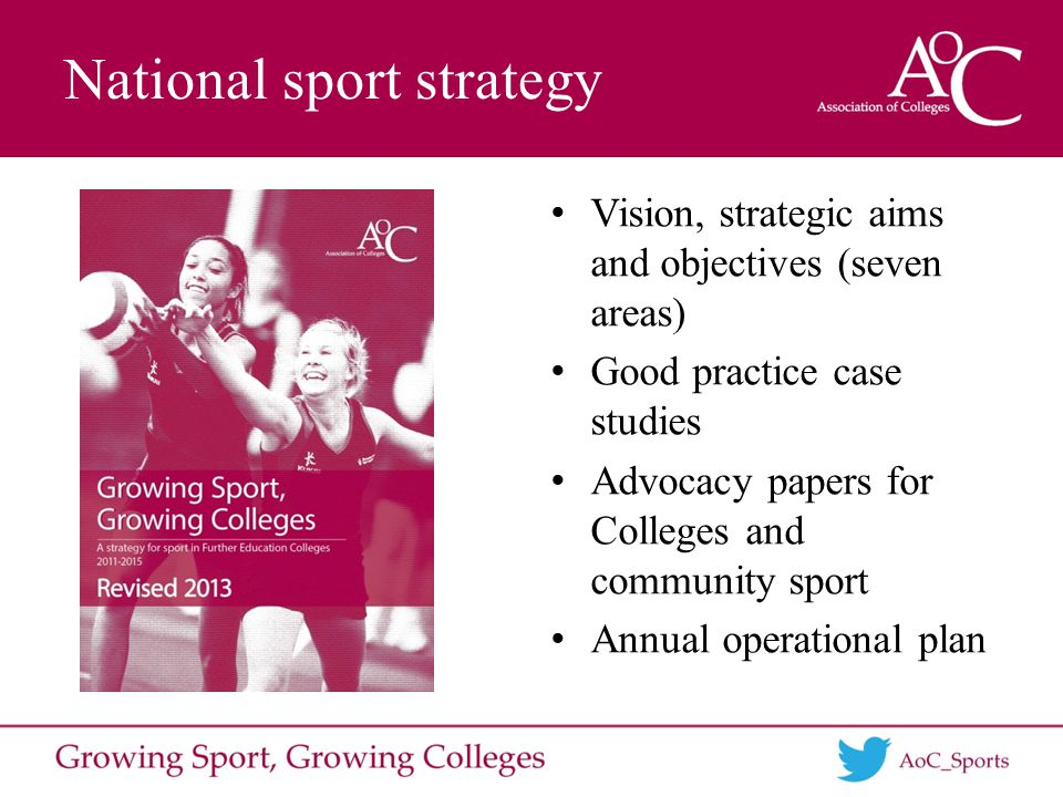 National sport strategy Vision, strategic aims and objectives (seven areas) Good practice case studies Advocacy papers for Colleges and community sport Annual operational plan