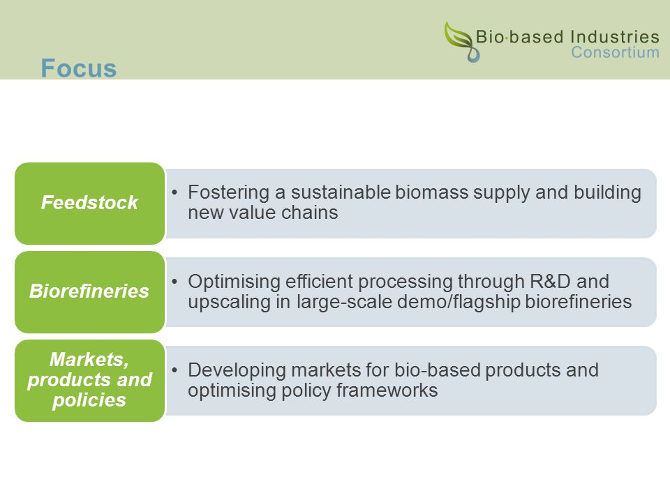 Focus Fostering a sustainable biomass supply and building new value chains Feedstock Optimising efficient processing through R&D and upscaling in large-scale demo/flagship biorefineries Biorefineries Developing markets for bio-based products and optimising policy frameworks Markets, products and policies