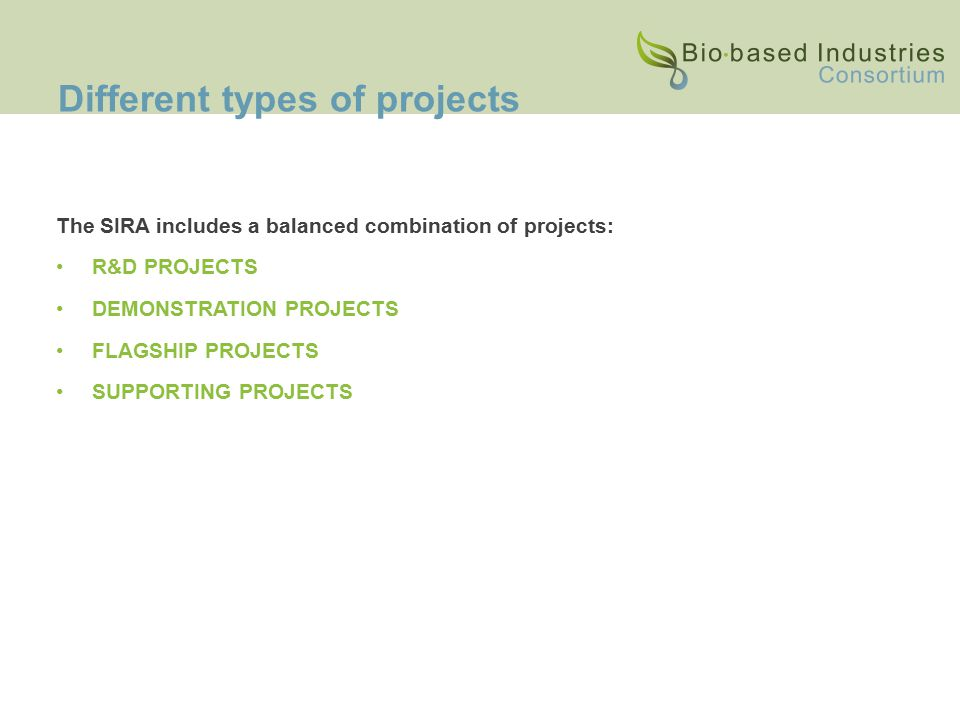 Different types of projects The SIRA includes a balanced combination of projects: R&D PROJECTS DEMONSTRATION PROJECTS FLAGSHIP PROJECTS SUPPORTING PROJECTS