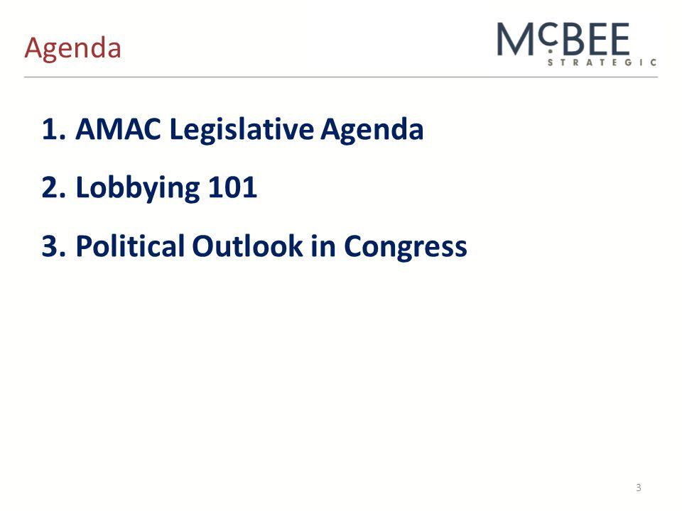 Agenda 3 1.AMAC Legislative Agenda 2.Lobbying 101 3.Political Outlook in Congress